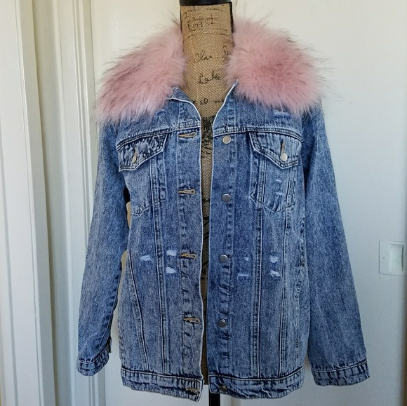 06e8f166f20b Honey Punch Jackets & Blazers - Distressed jean jacket w/pink faux fur  collar